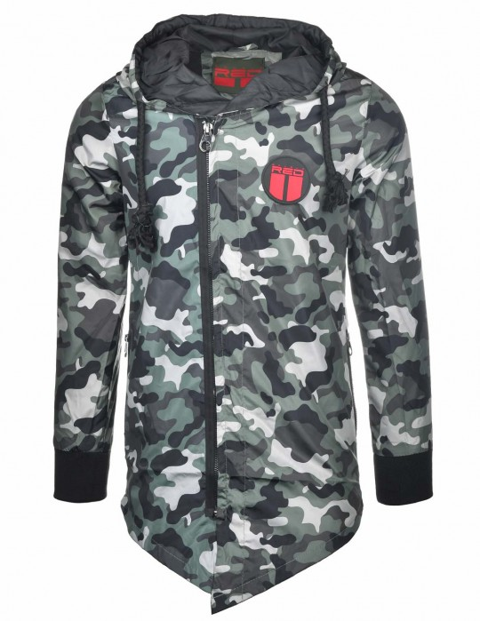 The PUNISHER Long Size Bomber Jacket Green Camo