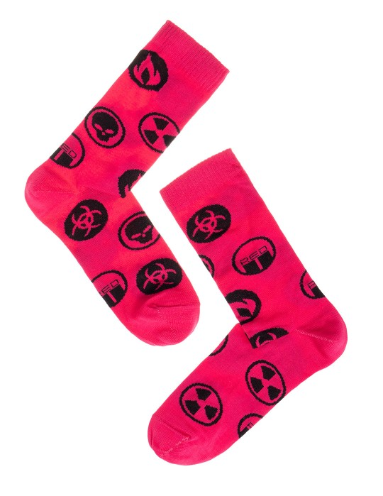 DOUBLE FUN Socks Biohazard Pink