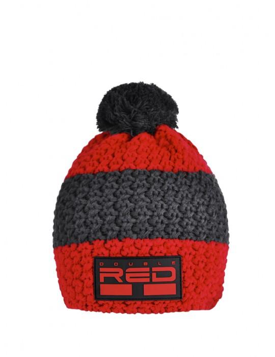 DOUBLE RED COURCHEVEL Pompom Cap Red/Grey
