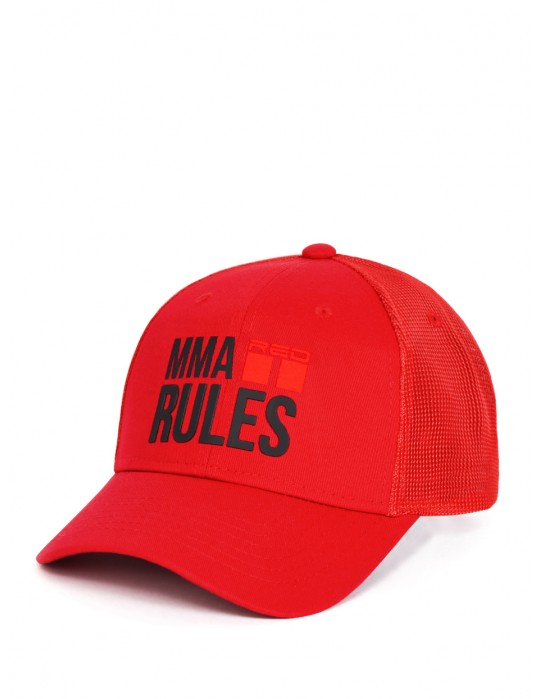 MMA RULES Red/Black Cap