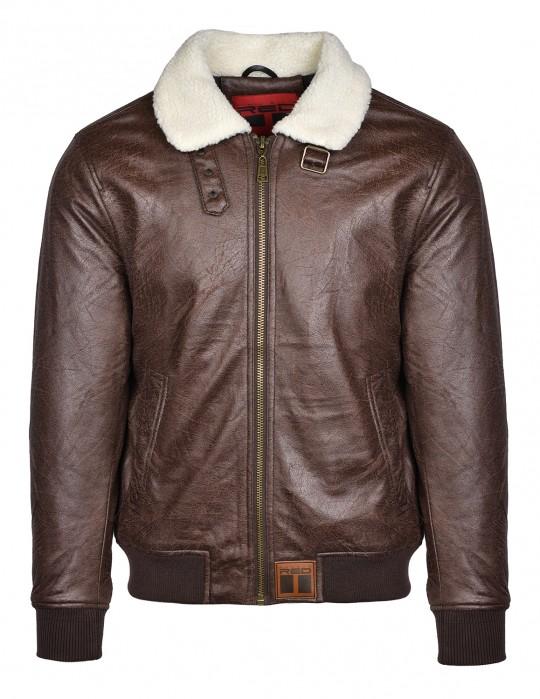 WRAITH Leather Jacket Brown White Fur