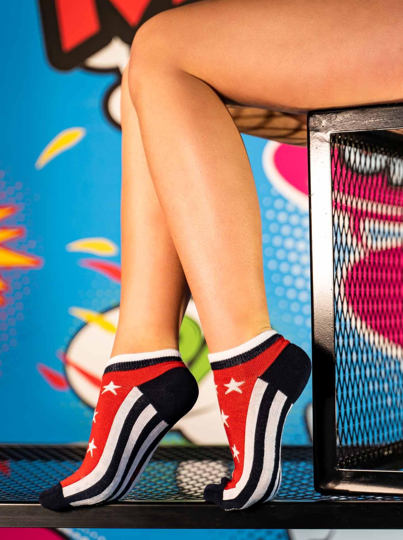 FUN Low Cut Socks Stars Red